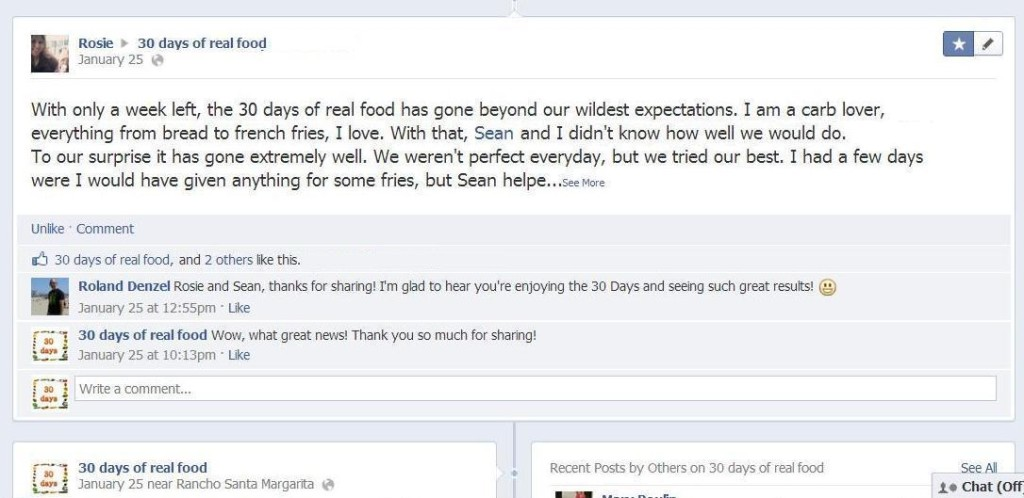 30 Days of Real Food Facebook page