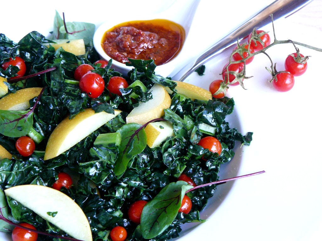 kale and pearl tomato asian pear salad