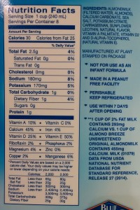 blue diamond almond milk ingredients & nutrition lawsuit