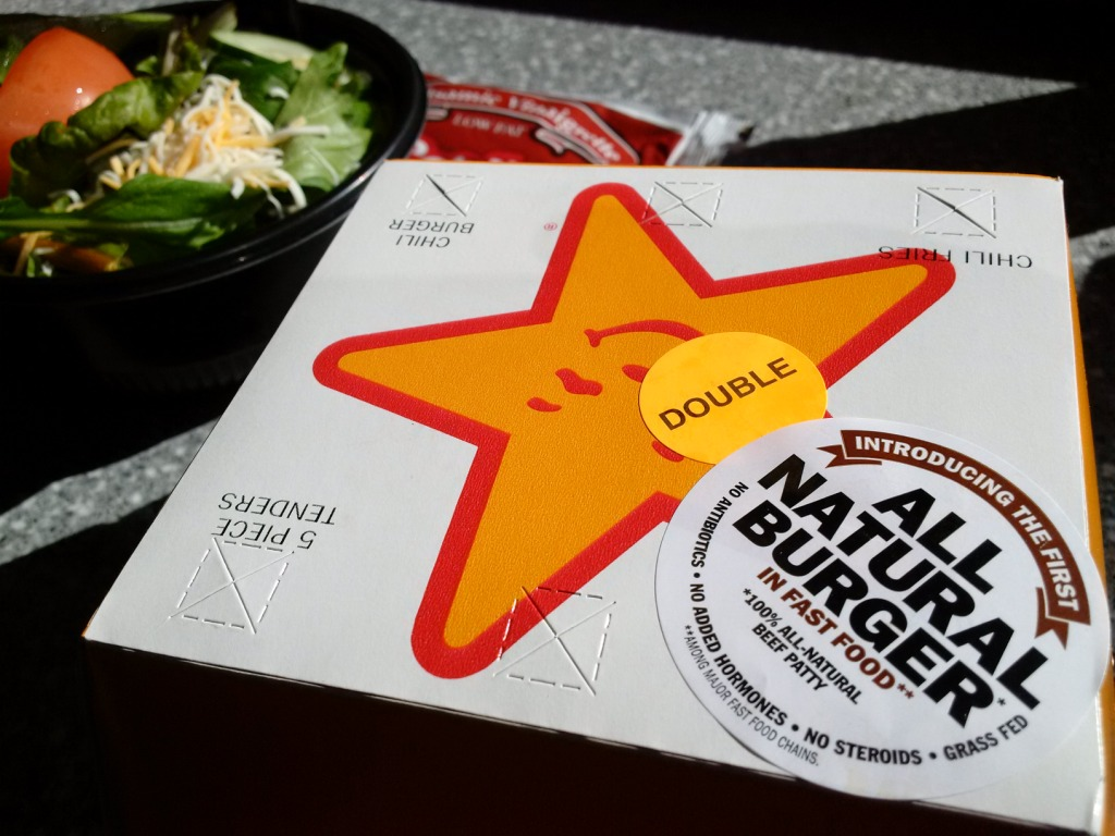 carls jr all natural burger box