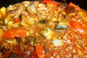 eggplant and ground beef stirred and into the crockpot