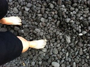galina's vibram fivefingers on pebbles in hawaii restorative exercise