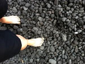 galina's vibram fivefingers on pebbles in hawaii restorative exercise