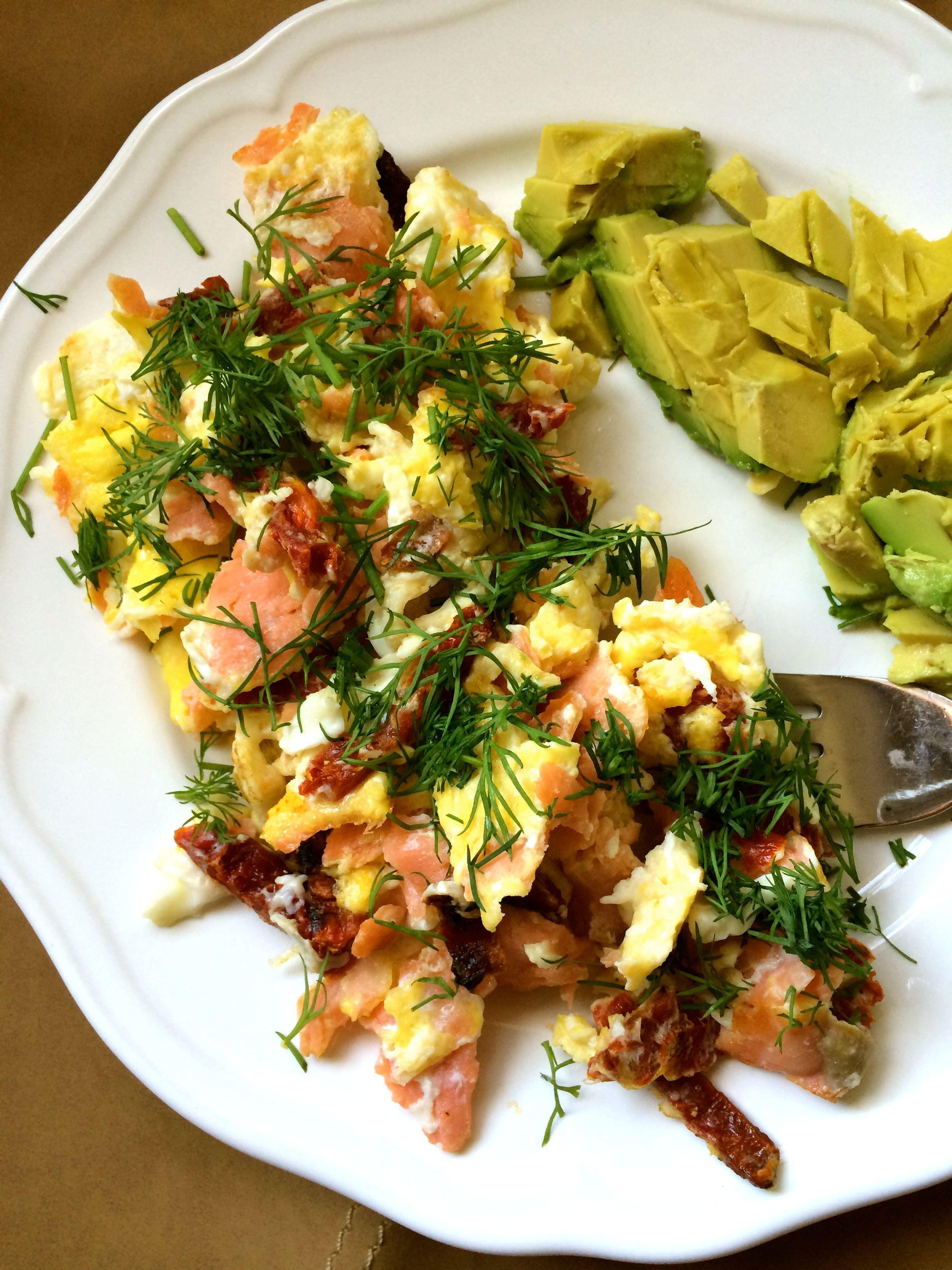 salmon and egg scramble