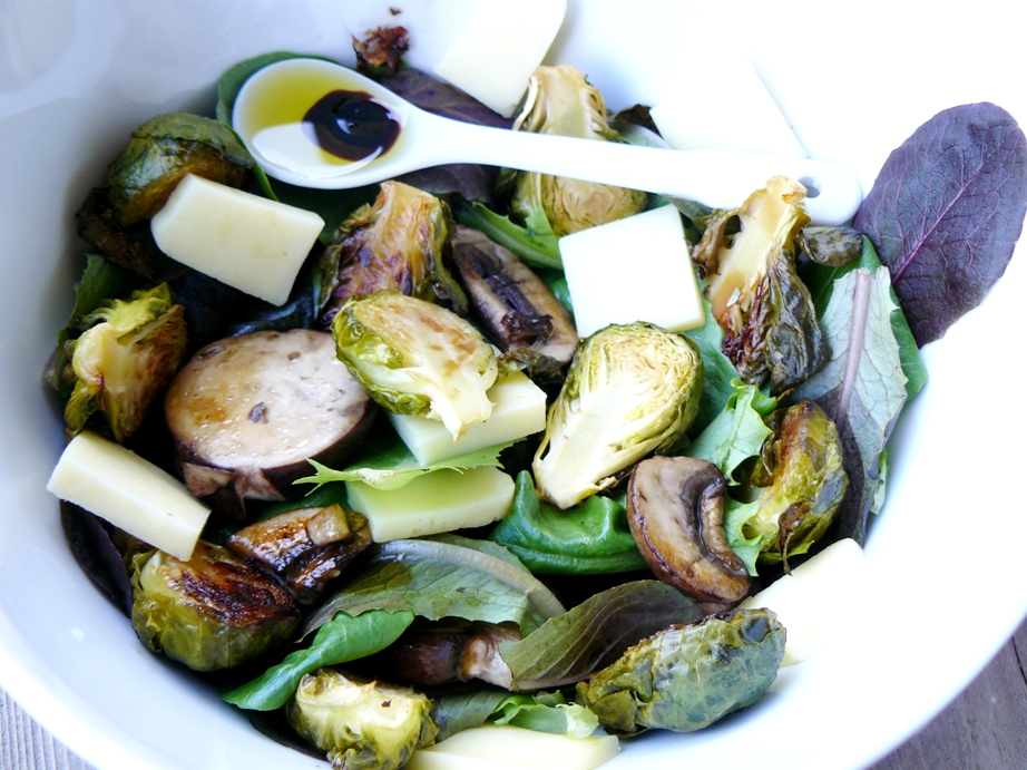 warm brussel sprouts and mushroom salad